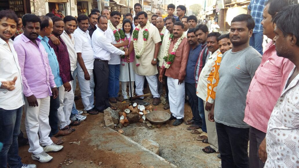 Inaugurated CC. Road works at main road near Prakash Theatre with a cost of  33 lakhs